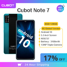 Cubot ملاحظة 7 النسخة العالمية 5.5 الهاتف الذكي 2GB 16GB الثلاثي كاميرا 13MP 4G LTE 3100mAh الروبوت 10 المزدوج سيم بطاقة الهاتف المحمول