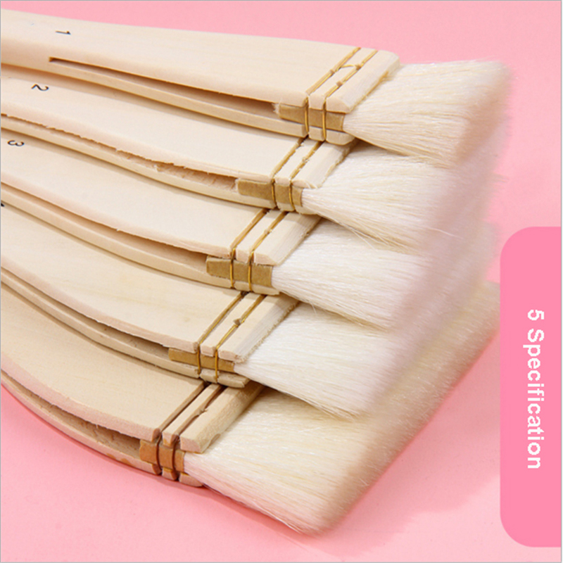 5 Pcs Watercolor Oil Painting Brush Wool Hair Art Brush Acrylic Wooden Long Handle Building Household Cleaning Brush Wall Tool
