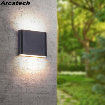 Zewnętrzna wodoodporna IP65 kinkiet 6W 12W oświetlenie naścienne LED nowoczesny kryty dekoracja na zewnątrz W górę dół podwójna głowica aluminiowa kinkiet NR-10 tanie i dobre opinie Arcatech CN (pochodzenie) Aluminium Pieczenia Outdoor Lighting Porch Garden Lights wall lamp 85-265 v 2 years Nowoczesne