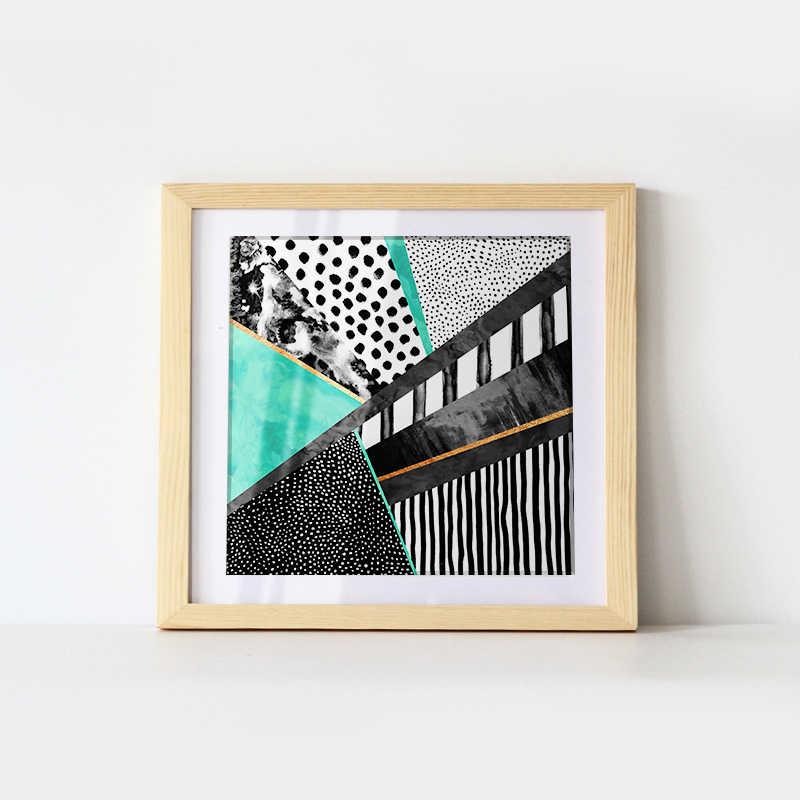 Home Decor Painting Black green geometric abstract Art Canvas Poster Wall Home Decoration Picture