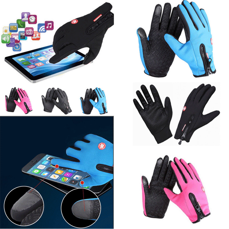 Men Warm Gloves Fleece Gloves Touch Screen Material Waterproof Winter Riding Bicycle Glove Non-Slip Skiing Outdoor Tool Gloves