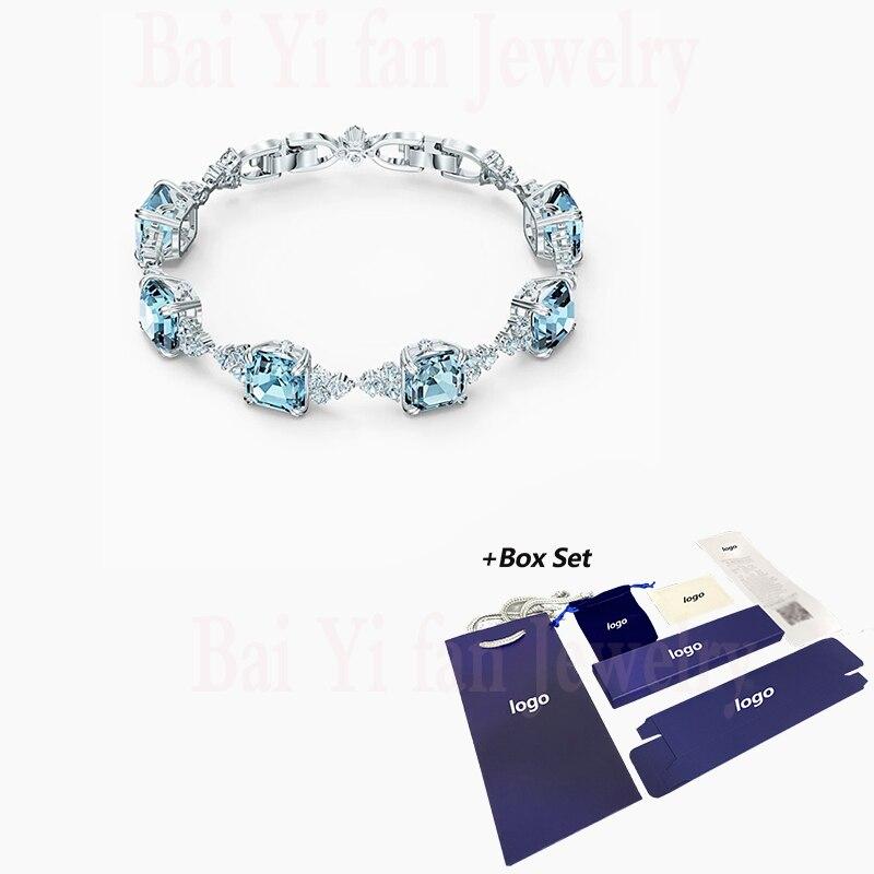 Joyería de moda 2020 SWA, nuevo brazalete brillante, dije Simple, decoración azul cuadrada, pulsera femenina de cristal, regalo romántico ¡Novedad de 2020! Zapatillas con suela gruesa Fujin para mujer, Zapatillas de casa a la moda para Boca de pescado, zapatillas informales de fondo plano para mujer