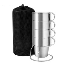 BPA ฟรี 300ML Double Wall สแตนเลสสตีลแก้วกาแฟท่องเที่ยวกีฬากลางแจ้งแบบพกพาแม่เหล็กน้ำถ้วยเบียร์ 4 ชิ้นชุด