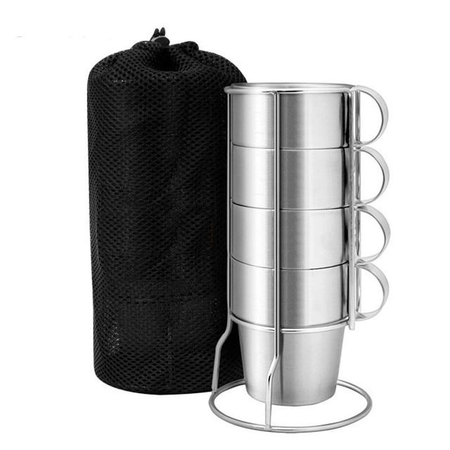 Bpa livre 300 ml dupla parede de aço inoxidável café caneca viagem esportes ao ar livre portátil não magnético copo cerveja água 4 peças no conjunto
