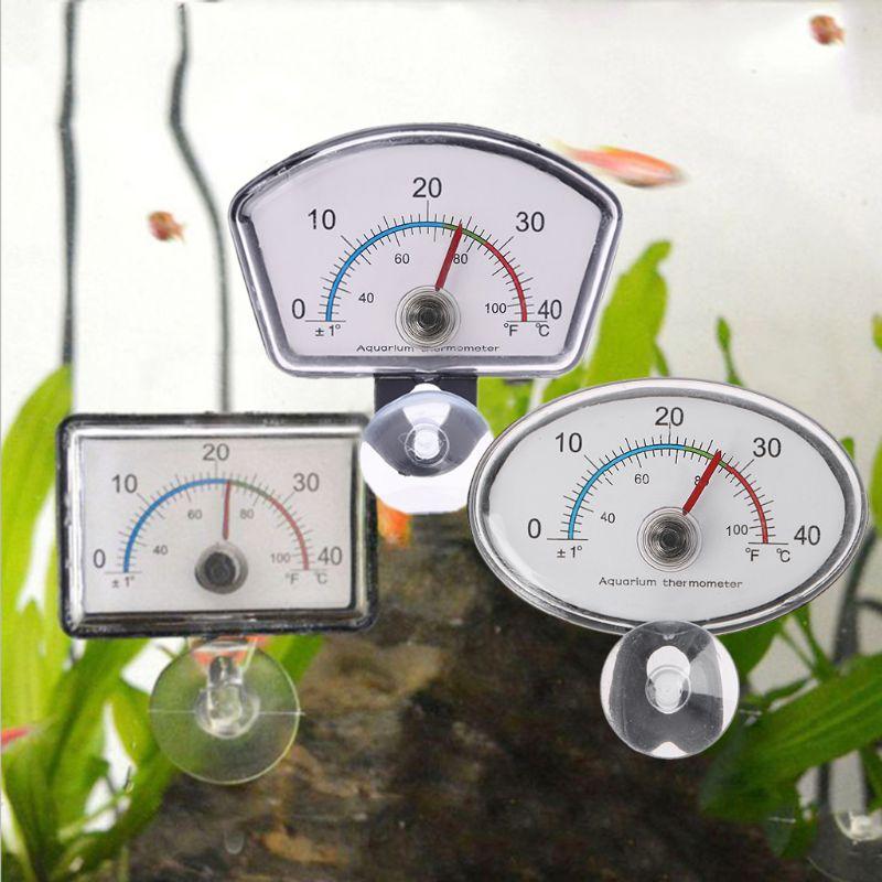 Aquarium Thermometer Pointer Fish Tank Temperature Dial Submersible Suction Cup