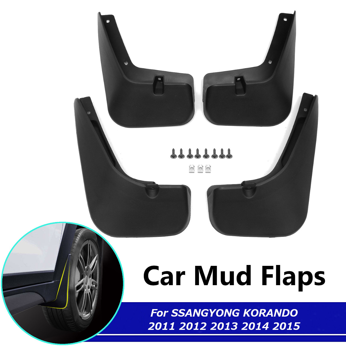 Mud Flaps For SsangYong Korando New Actyon C200 2011-2015 Fender Splash Guards Mudguards Mudflaps Accessories image