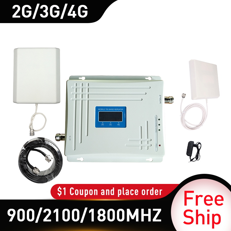 900/1800/2100MHZ 4g Booster GSM DCS WCDMA LTE 2G 3G 4G Tri-Band Mobile Signal Booster Gain 65 GSM Cellular Repeater 4g Amplifier
