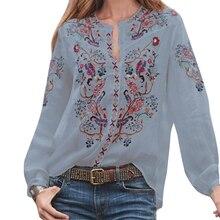 Свободная Женская блузка, летние женские повседневные вечерние топы, полиэстер, с принтом, вырез лодочкой, Этнические женские модные рукава-фонарики