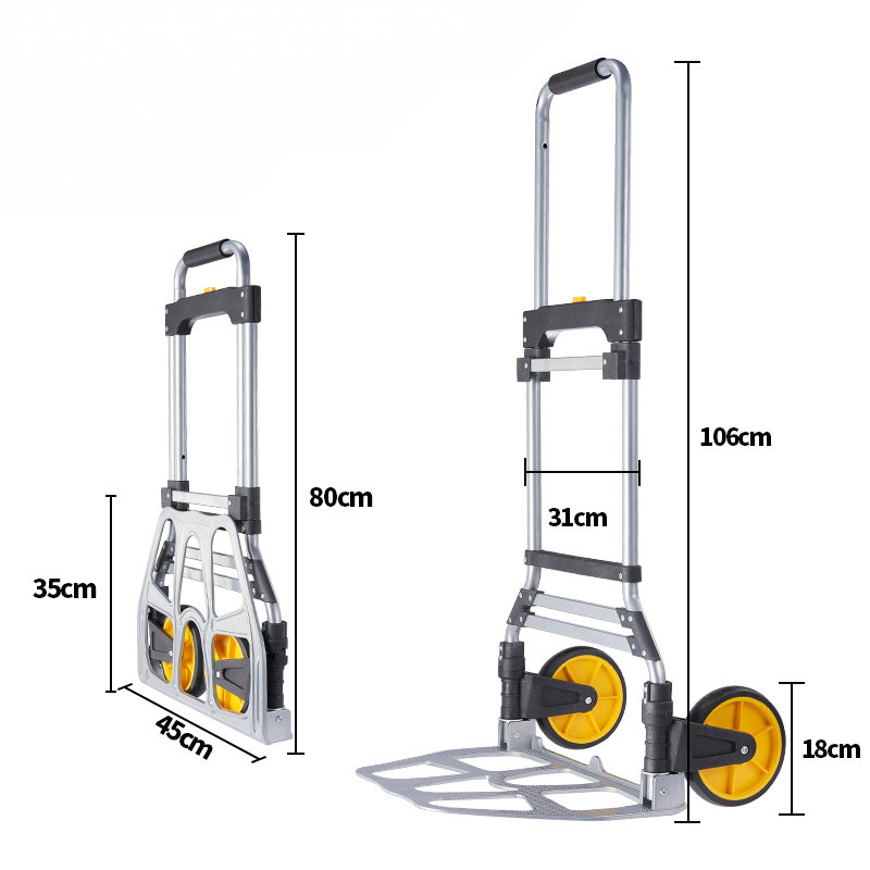 Folding Hand Truck, Aluminum Dolly Luggage Cart, 220 LB Capacity, For Indoor Outdoor Moving Travel