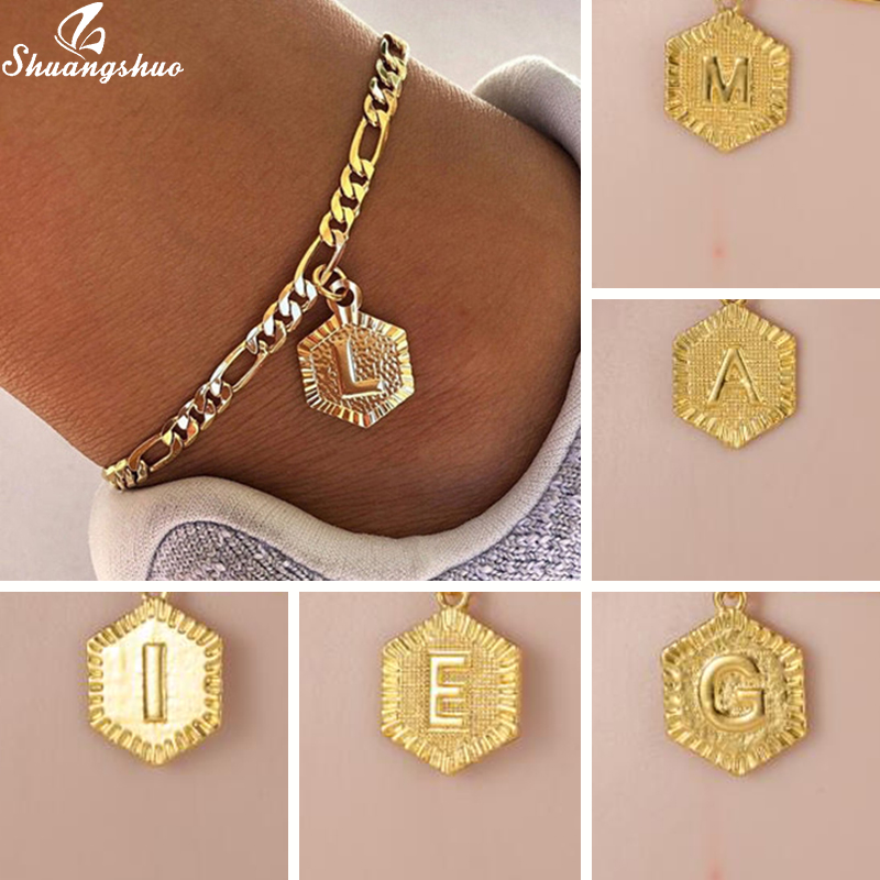 Art Hexagon Shaped A-Z Letter Ankle Dainty Initail Charm Anklets & Bracelets for Women Stainless Steel Anklet Gold Leg Chain