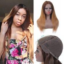 ストレート色レースクロージャー人間の髪かつら女性のためのオンブル人毛かつらブラジルのremy 4 × 4 のレースの閉鎖かつらナチュラル 180%