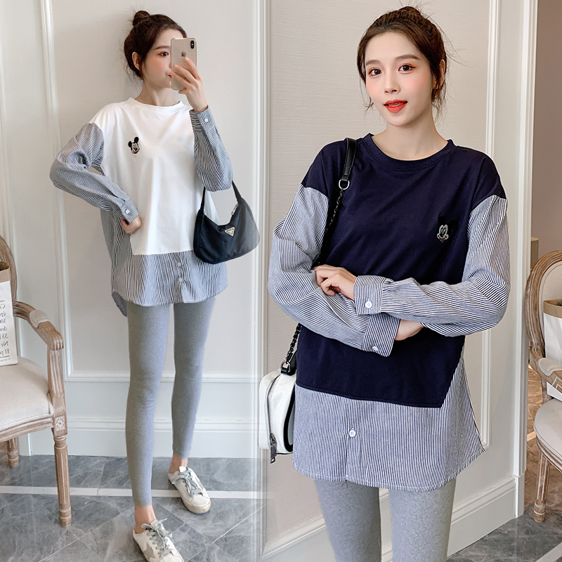 1895# Spring Casual Patchwork Cotton Maternity Blouse Long Sleeve Loose Shirts Clothes for Pregnant Women Pregnancy Tops
