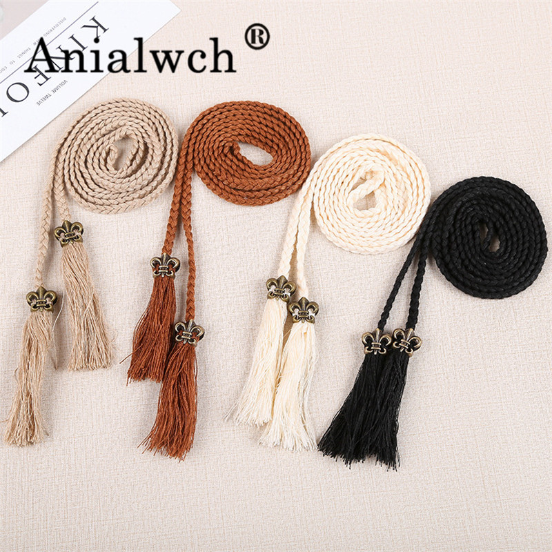 120*0.7cm Tassel Weave Women's Belt For Women Dress Waistband Fashion 2020 New Woman's Accesories Thin Girdle G004