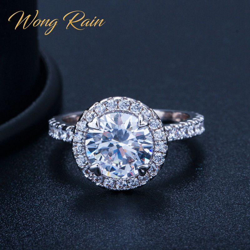 Wong Rain 925 Sterling Silver Created Moissanite Gemstone Wedding Engagement Diamonds Ring Fine Jewelry Wholesale Drop Shipping