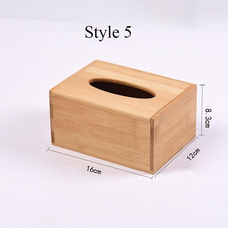 Твердая бамбуковая деревянная коробка для салфеток настольная бумага органайзер для хранения держатель для салфеток чехол украшение дома - Цвет: Style 5