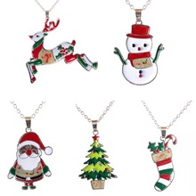 Unisex Rhinestone Santa Claus Christmas Necklace Creative Personalized Colorful Tree Cute Deer Pendant New Year Gift