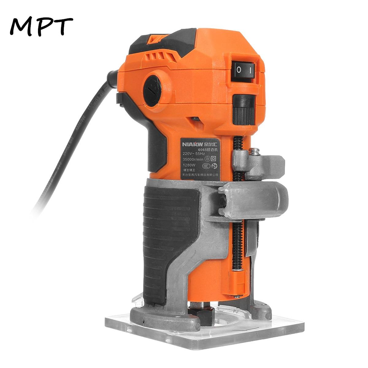 MPT bois tondeuse électrique bois fraisage 1280W 35000r/min électrique main tondeuse bois plastifieuse routeur bord menuisiers ensemble