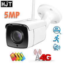 HJT 4G IP Camera 5MP 5X Zoom Two Way Audio IR Night Vision TF Card Humanoid Detection Outdoor Security Camera Waterproof CamHi