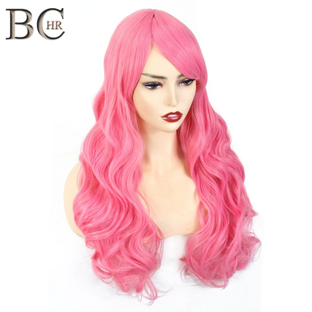 BCHR Long Wave Synthetic Wigs For Women Cosplay Wig Blonde Blue Pink Grey Purple Gren Orange Black Brown Hair For Party