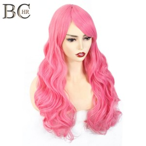BCHR Long Wave Synthetic Wigs for Women Cosplay wig Blonde Blue Pink Grey Purple Gren Orange Black Brown Hair for party(China)