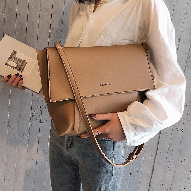 Quality PU Leather Shoulder Bags For Women 2020 Designer Handbag Large Crossbody Messenger bag Lady Solid Color Hand Bag|Shoulder Bags|Luggage & Bags - title=