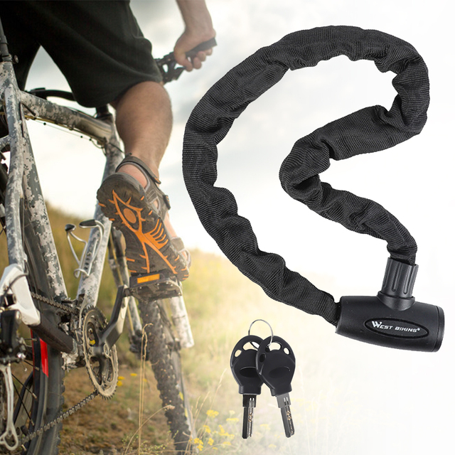 1.2m Bike Locks Bicycle Heavy Duty Anti-Theft Chain Lock Portable Lengthen Cycling Safety Locking Chain for Motorcycle Electric Scooter Bike Chain Lock with Key