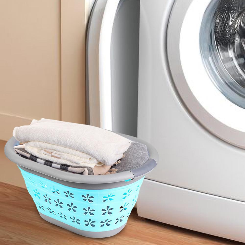 Laundry Basket Plastic Dirty PP Clothing Foldable Hamper Storage Toy Bath Clothing Storage Box 50x37.5x27cm