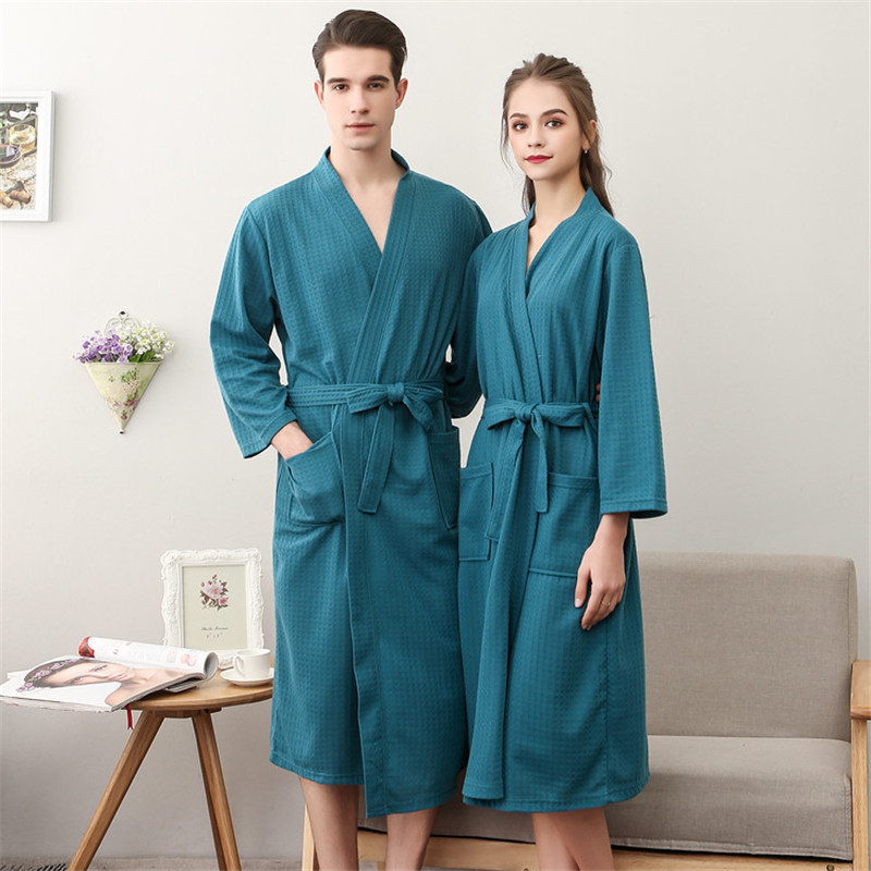 3/4 Sleeve Men&women Bathrobe Sleepwear Sexy Loose Casual Nightgown Negligee V-neck Autumn New Intimate Lingerie With Belt
