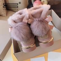 SHUANGGUN Australian boots winter ladies snow boots wool sheepskin leather snow boots mink fur decoration
