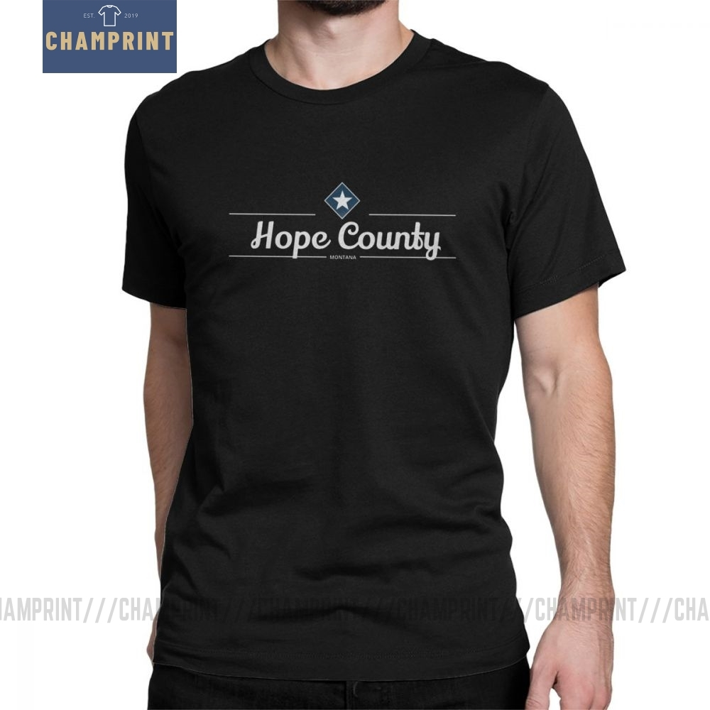 Hope County T-Shirt MT Far Cry Game John Seed Hope County Cross T Shirts Men Printing Clothes Vintage O Neck Purified Cotton Tee image