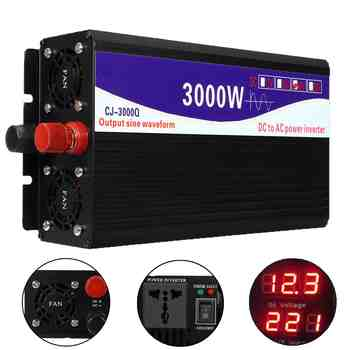 3000W Pure Sinus Omvormer 12V/24V/48V Om 220V Lcd Display Voltage transformator Converter Voor Thuis