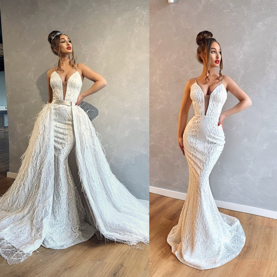 2020 Vintage Mermaid Wedding Dresse Detachable Feather Beaded Ball Gown Lace Appliques Vestido De Noiva Custom Made Bridal Dress