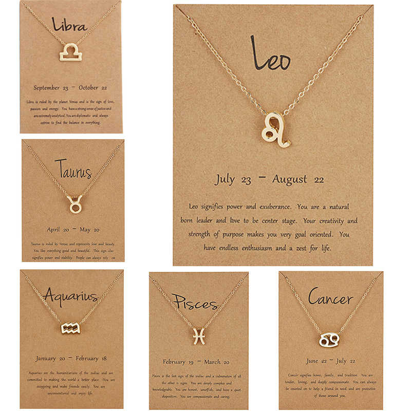 Vintage Zodiac Sign 12 Constellation Necklaces Pendants Charm Korean Statement Gold Choker Necklaces For Women Jewelry Dropship