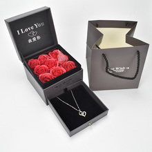 Beautiful Gift Soap Foam Rose Jewelry Box with 100 Language I Love you Necklace For valentines Day
