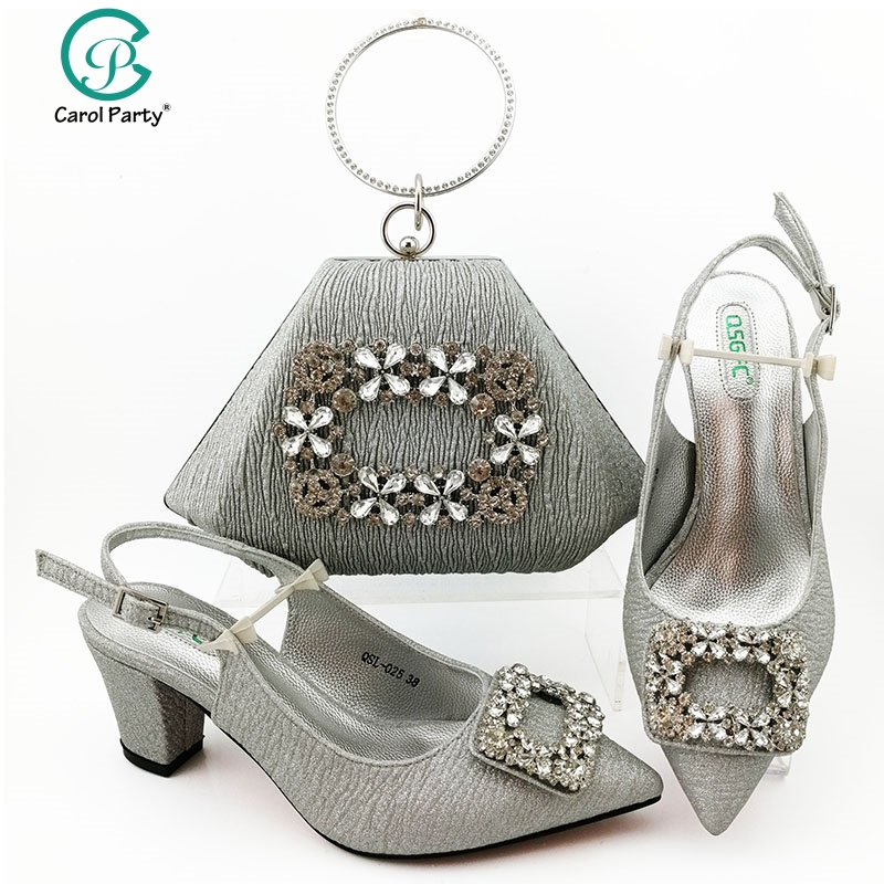 Silver Color Shoe and Matching Bag for Nigeria Party African Wedding Shoes and Bag Set Italian design Women Wedding Shoe and Bag