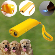 3 in 1 Dog Repeller Device LED Ultrasonic Dog Training Repellents Anti-barking Device with Flash Light Outdoor Portable Whistle+