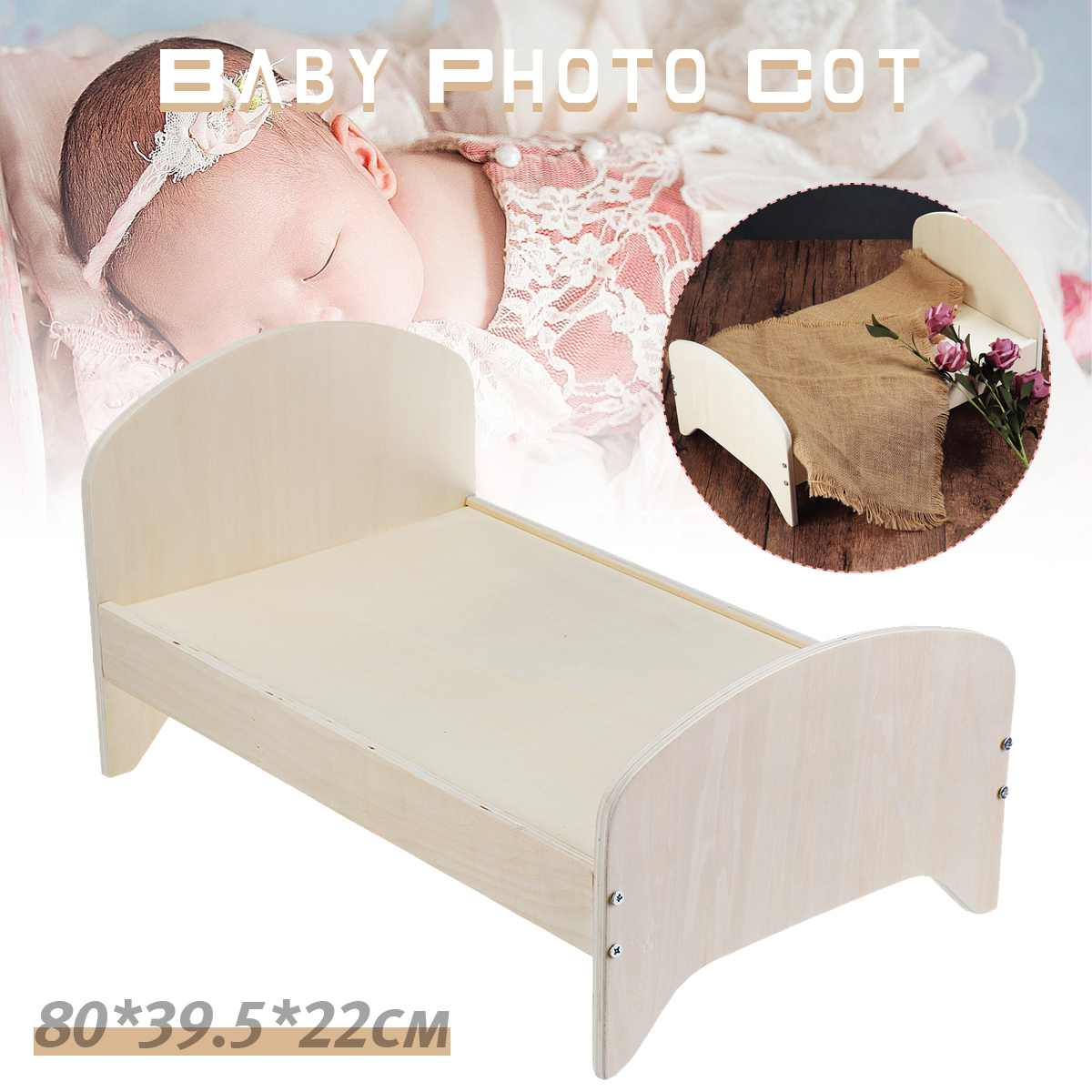 Detachable Wooden Crib Basket Wooden Bed Sofa Photo Shooting Baby Posing Gift Photography Background Photography Studio Props