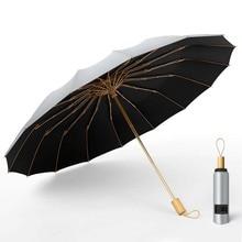 Parasol Umbrellas Large Women Rain 3folding Strong 16K Super And UV Sun-Protection Wind-Resistant