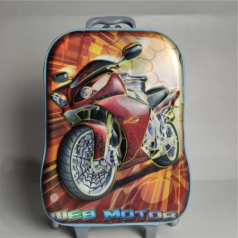 Maleta para niños en 3D, mochila para niños, mochila para niñas, mochila Multicolor para niños, con ruedas y ruedas, 5 colores - 4