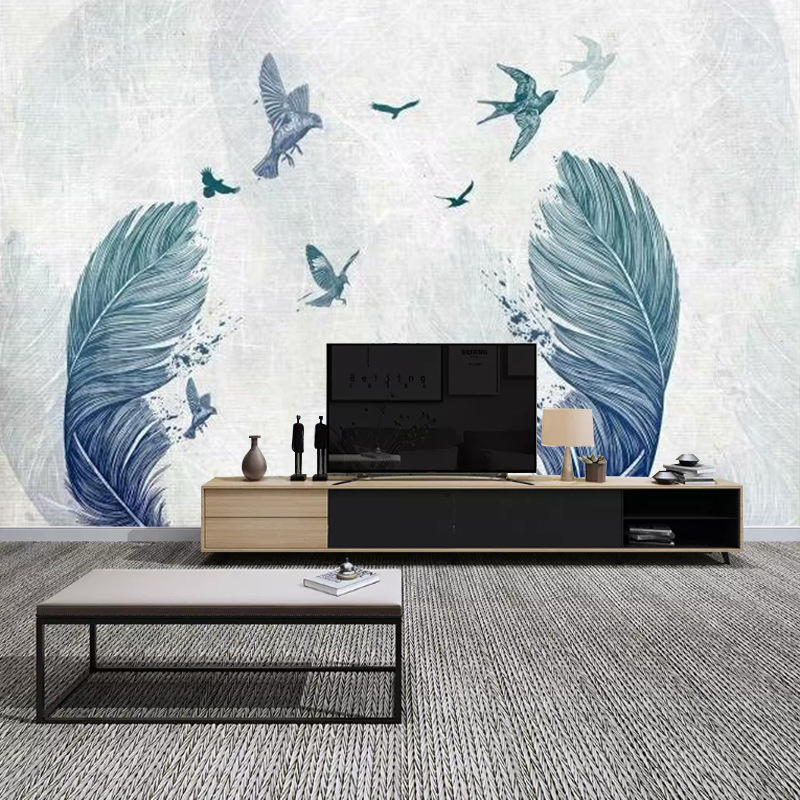Scandinavian Minimalist Wallpaper Living Room Television Background Wall Wallpaper Seamless Wall Cloth American-Style Watercolor