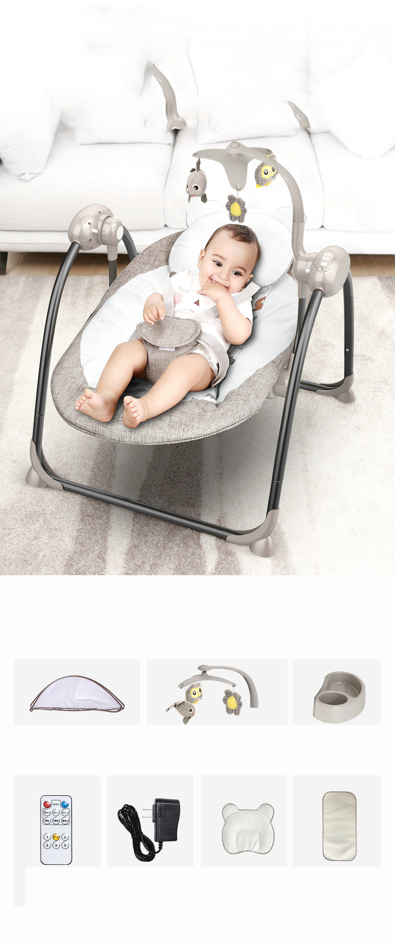 Hff087b4909d2475e8c64954add3c97b7Z Baby Swing Multifunctional Baby Electric Baby Rocking Chair Electric Baby Cradle With Remote Control Cradle Rocking Chair
