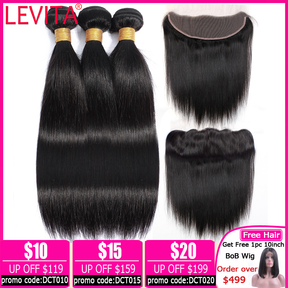 Frontal With Bundle Straight Hair Bundles With Frontal Brazilian Hair Weave Bundles Human Hair Bundles With Frontal Non-remy
