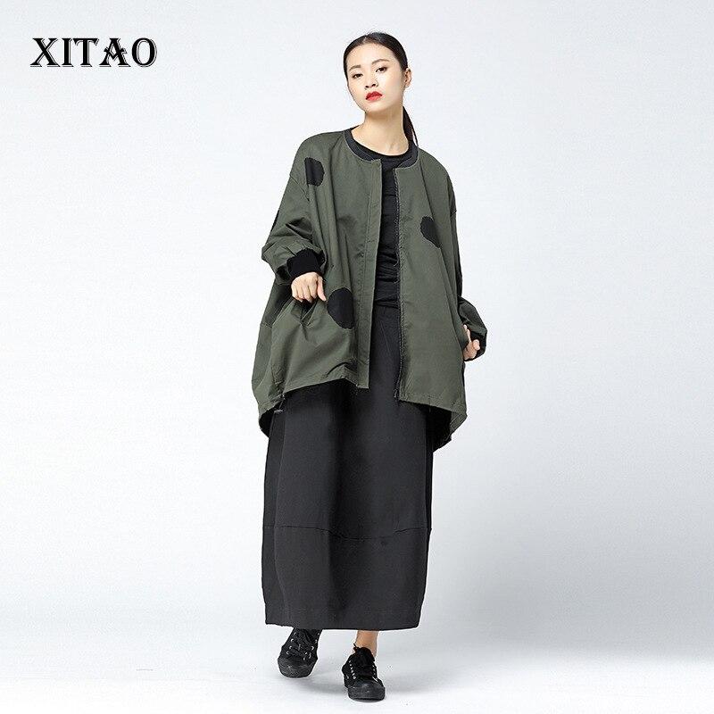 XITAO Polka Dot Irregular   Trench   Women Korea Fashion New Bat Sleeved Plus Size Hit Color Print 2019 Autumn Elegant Coat LJT3848