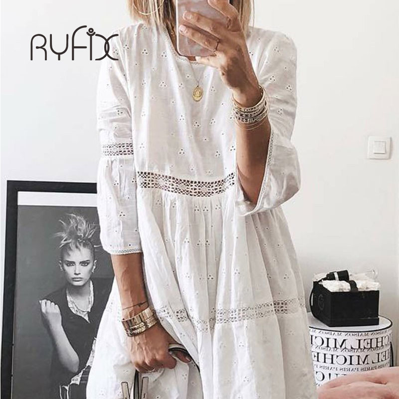 5XL 2019 New Women Elegant Embroidered Lace Dress White Female Splicing Dress Floral Hollow Out Loose Casual Party Vestidos BG74