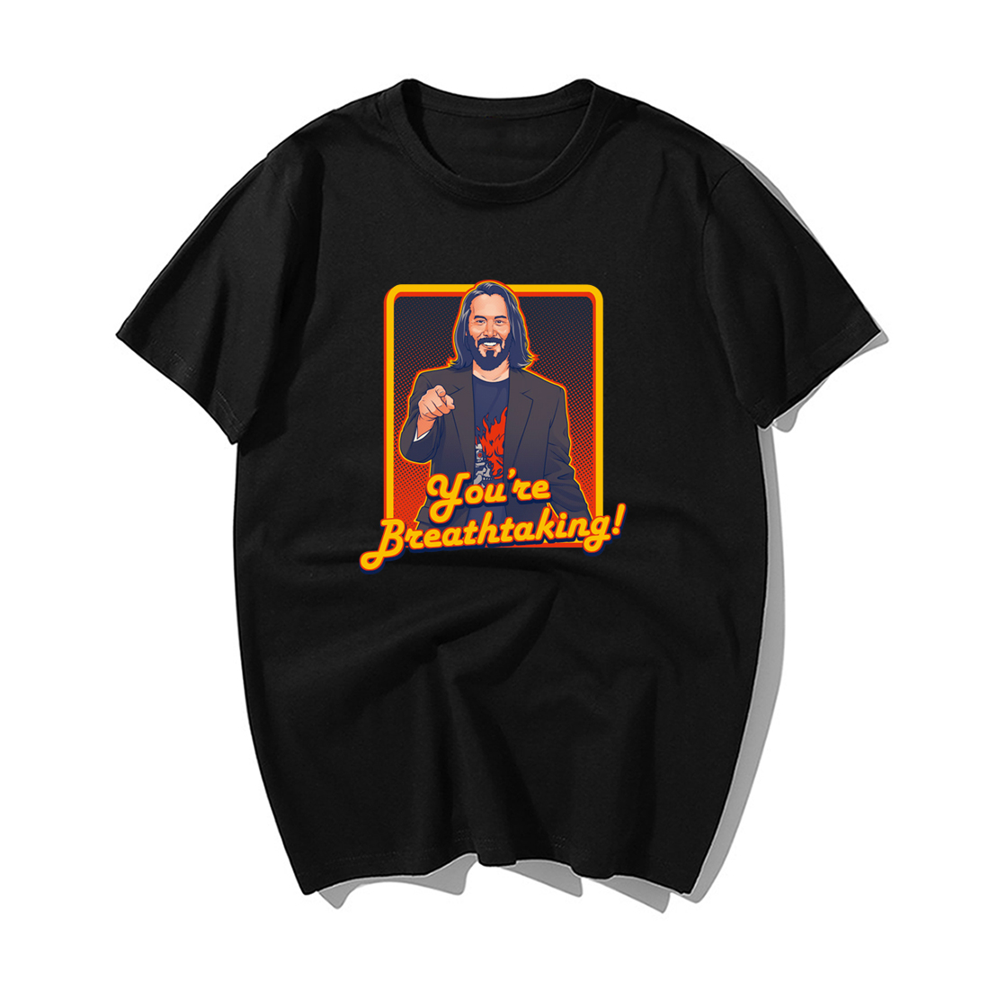 Keanu Reeves You Are Breathtaking Fashion Print T Shirt Men Summer Cotton Short Sleeve Tshirt Hip Hop Harajuku Streetwear Tops