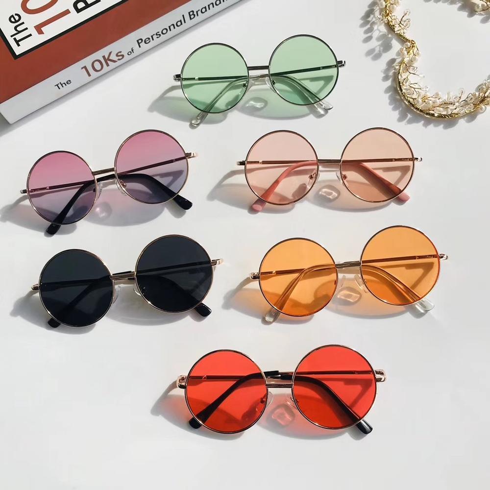 Candy Color Retro Simple Children Round Kids ANTI-UV Sun Glasses Eyewear Wild British Style Metal Sunglasses