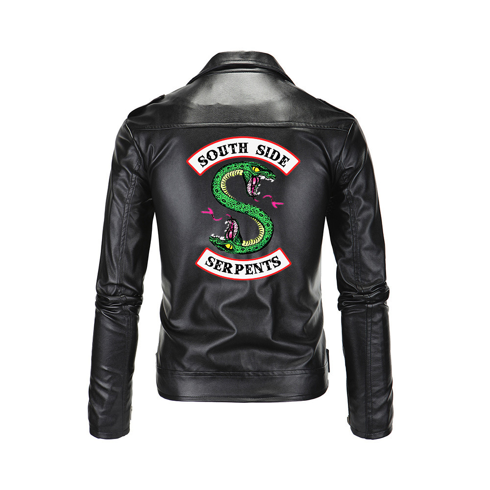 2019 Autumn New Synthetic Leather Polyurethane Men's Riverdale Southside Snakes Men's Jacket Fitness Fashion Suede Casual Jacket