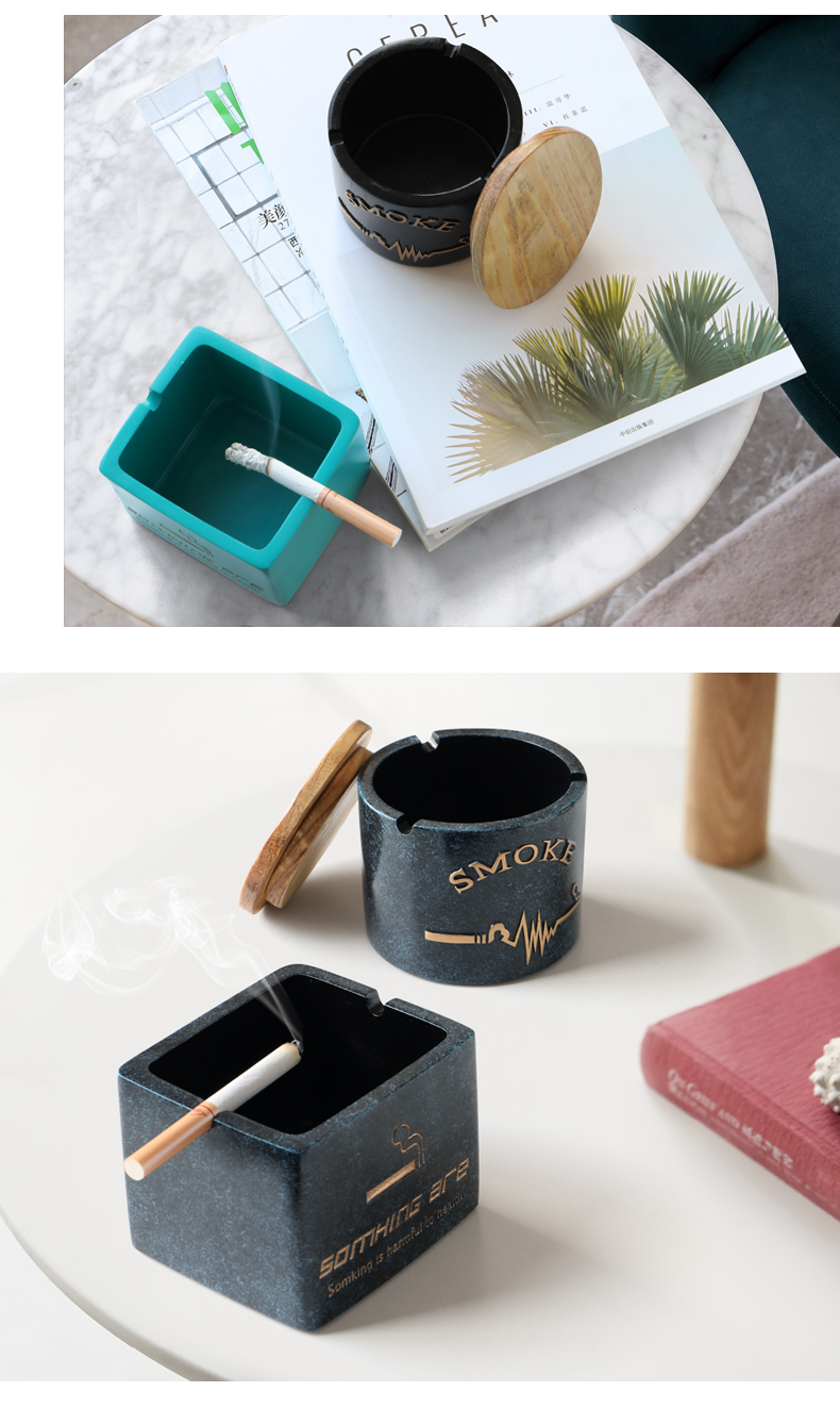 Resin Moden Windproof Ashtray With lid for Tabletop Gift for friends Hotel outdoor home decoration Smokeless Ashtray Holder