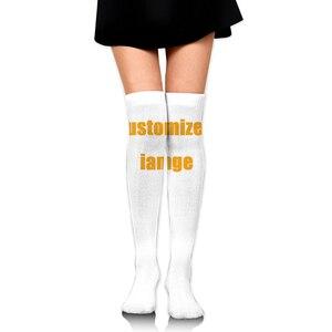 Бесшумные дизайнерские женские носки с принтом под заказ, чулки, теплые чулки выше колена, Длинные чулки, сексуальные чулки на заказ