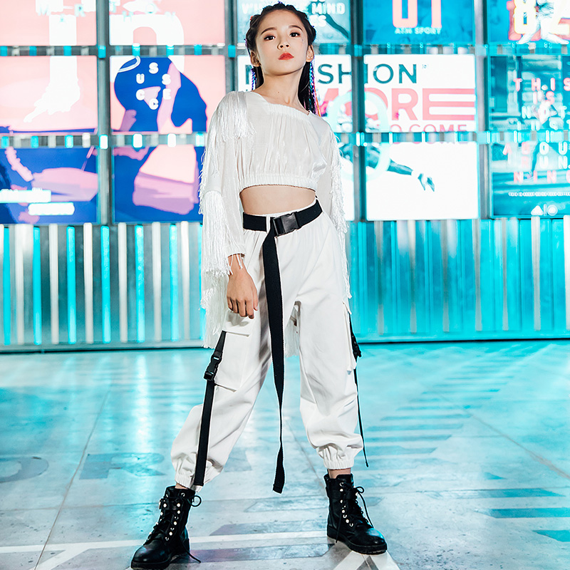 Girls Jazz Dance Costume White Hip Hop Street Dance Clothes Kids Stage Performance Clothing Children Catwalk Show Outfit DQL2949